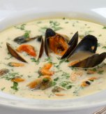 Potato and mussel soup
