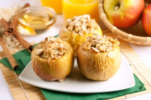 Baked apples stuffed with walnuts and raisins
