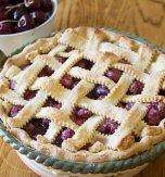 Sweet cherry pie with lattice crust