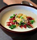 Potato cream soup with bacon