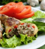 Mushroom stuffed chicken thighs