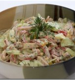 Ham, mushroom, and cucumber salad