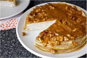 Banana pancake cake with icing
