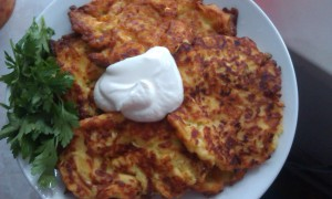 Vegetable marrow, cheese and tomato pancakes