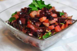Potato, carrot, cucumber, and laminaria salad