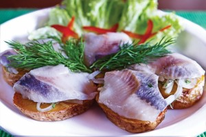 Herring and pickled cucumber appetizer