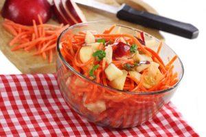 Carrot, apple, and walnut salad
