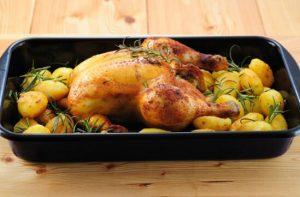 roasted chicken in white wine sauce