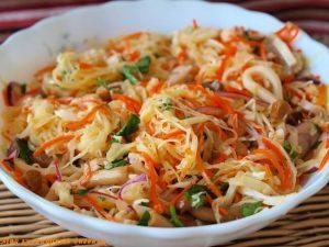 Calamari, cabbage, and mushroom salad