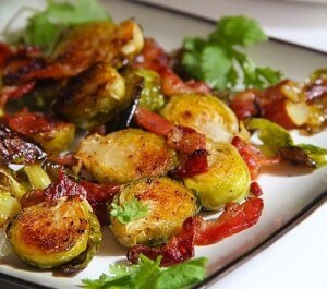 Stewed brussel sprouts with lemon juice