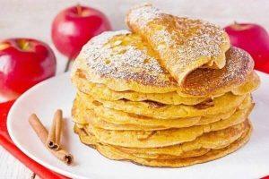 Pumpkin apple pancakes with cinnamon