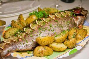 Roasted mackerel and potatoes