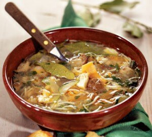 Veal, mushroom, and vegetable soup