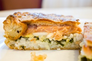 Puff pastry perch and potato pie