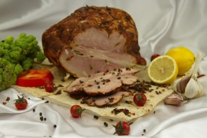 Flavored pork tenderloin roasted in the oven