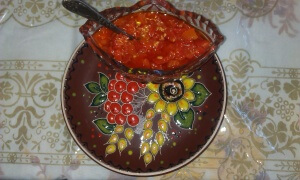 Adjika sauce (tomato and red bell pepper sauce)