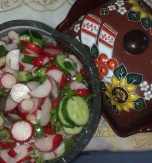 Radish, Cucumber, Spring Onion, and Parsley Salad