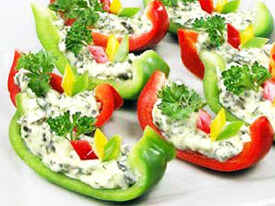 Bell pepper and cheese appetizer