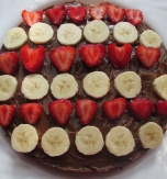 Chocolate Cake with Strawberries and Banana