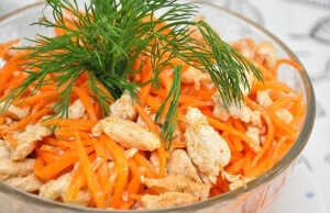 Carrot, cabbage, and chicken salad