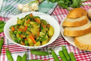 Potato, green pea, carrot, and vegetable marrow stew