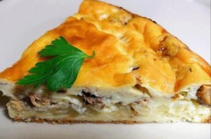 Mackerel pie with rice, onion, dill, and parsley