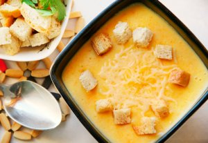Cheese, potato, and carrot soup