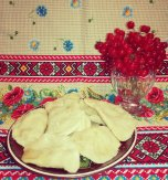 Varenyky with guelder rose berries
