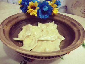 Ukrainian dumplings with pumpkin filling