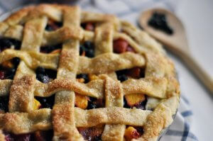 Pieplant pie with lattice crust
