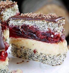 Poppy cake with cherry jelly