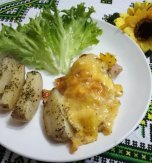 Roasted pork with pineapple and cheese