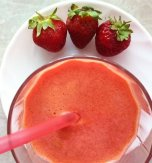 Carrot, apple, and strawberry juice