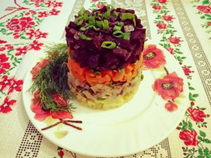 Layered herring salad