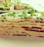 Pancake pie with chicken and cream cheese. Inspiration for comfort food
