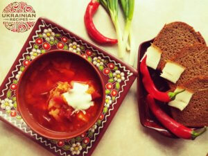 Borscht soup with baked beets