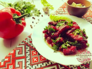 Stewed pork with beets