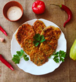 Zucchini fritters with herbs and garlic