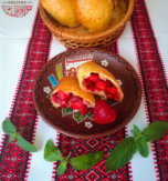 Ukrainian pyrizhky (hand pies) with strawberries